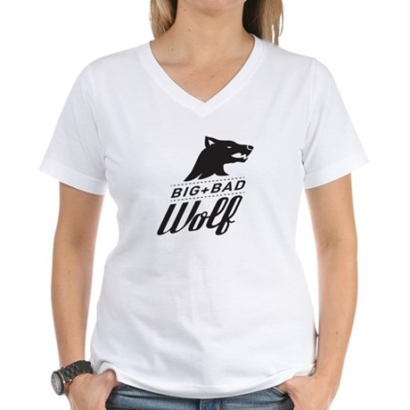 B&W Big Bad Wolf Women's V-Neck T-Shirt