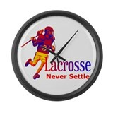 Lacrosse Never Settle Large Wall Clock