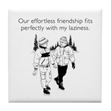Effortless Friendship White Tile Coaster