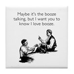 Love Booze White Tile Coaster