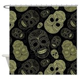 Gold Sugar Skulls Shower Curtain