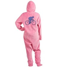 Cycling Design in Blue. Footed Pajamas