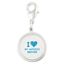 I Love My Autistic Brother Silver Round Charm
