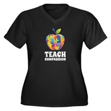 Teach Compassion Women's Plus Size V-Neck Dark T-S