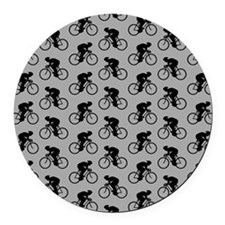 Gray Cycling Pattern. Round Car Magnet