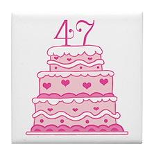 47th Anniversary Cake Tile Coaster