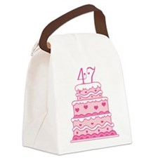 47th Anniversary Cake Canvas Lunch Bag