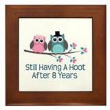 8th Anniversary Owls Framed Tile