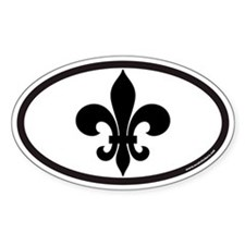Fleur De Lis Euro Oval Sticker for New Orleans