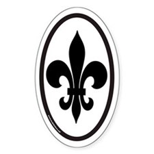 Fleur De Lis Oval Sticker for New Orleans (vert)