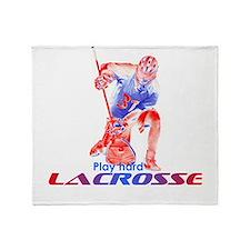 Lacrosse Play Hard Goalie Throw Blanket