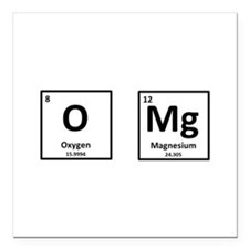 "OMg Square Car Magnet 3"" x 3"""