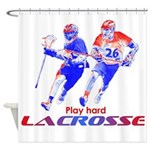 Lacrosse Play Hard Shower Curtain