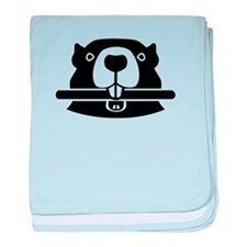 Beaver head face baby blanket