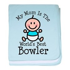 Mom is Worlds Best Bowler baby blanket