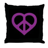 Purple Peace Heart Throw Pillow