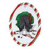 Bearded Collie Christmas Oval Ornament