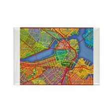 Boston Massachusetts Map Rectangle Magnet