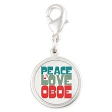 Peace Love Oboe Silver Round Charm