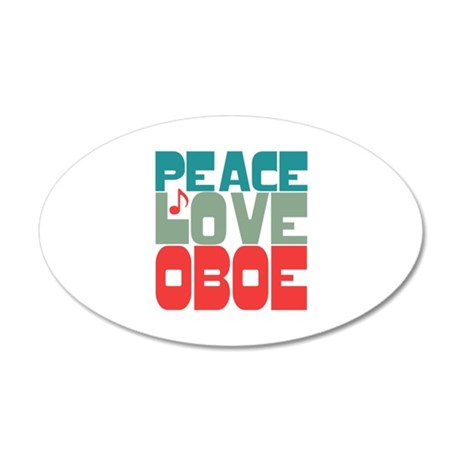 Peace Love Oboe 20x12 Oval Wall Decal