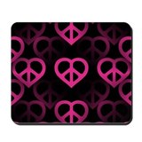 Hot Pink PeaceHeart Mousepad