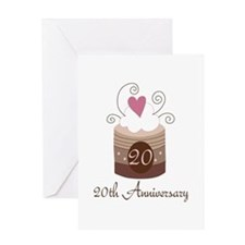 20th Anniversary Cake Greeting Card