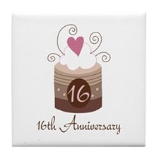 16th Anniversary Cake Tile Coaster