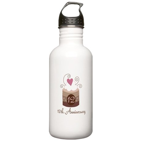 12th Anniversary Cake Stainless Water Bottle 1.0L
