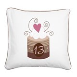 13th Birthday Cupcake Square Canvas Pillow