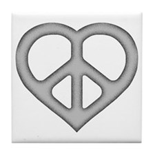 Silver Peace Heart Drink Coaster