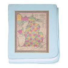 Vintage Map of Michgan baby blanket