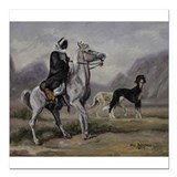 Arabian Horse and Saluki Dog Square Car Magnet 3""