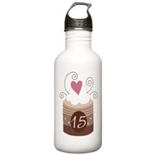 15th Birthday Cupcake Water Bottle