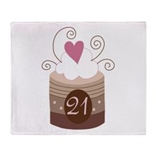 21st Birthday Cupcake Throw Blanket