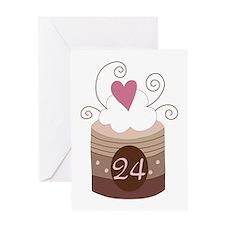 24th Birthday Cupcake Greeting Card