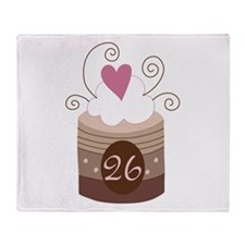 26th Birthday Cupcake Throw Blanket