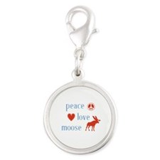 Moose Silver Round Charm