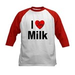 I Love Milk (Front) Kids Baseball Jersey