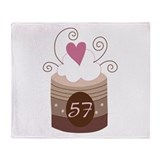 57th Birthday Cupcake Throw Blanket
