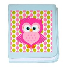 Pink Owl on Pink and Green baby blanket
