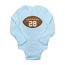 Football Player Number 28 Long Sleeve Infant Bodys