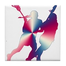 Lacrosse Red White and Blue Tile Coaster