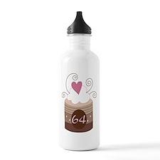 64th Birthday Cupcake Water Bottle