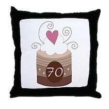 70th Birthday Cupcake Throw Pillow