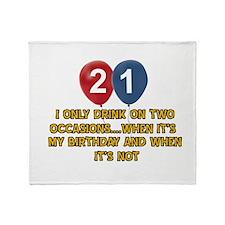 21 year old birthday designs Throw Blanket