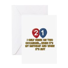 21 year old birthday designs Greeting Card