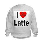 I Love Latte (Front) Kids Sweatshirt