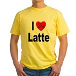 I Love Latte (Front) Yellow T-Shirt