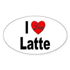 I Love Latte Oval Decal