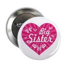 "Big Sister Butterfly Heart 2.25"" Button"